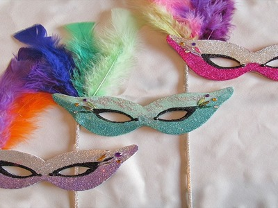 DIY Mardi Gras style masks with Fine Glitter Fast version