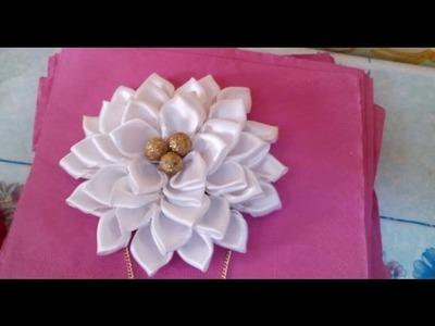 DIY Satin Ribbon Rose, Satin Ribbon Flower - Tutorial .