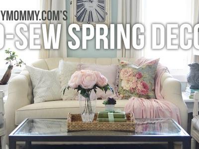No Sew Spring Decor Ideas. DIY Drapes, Pillow Cover + Throw Blanket Tutorial