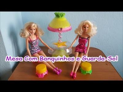 DIY - Como Fazer ( Mesa Com Banquinhos e Guarda-Sol ) para boneca Barbie, Monster High, Frozen etc