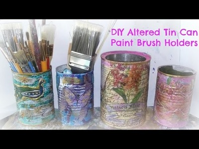How to make an altered tin can. DIY altered tin can paint brush holders.#Trashtotreasure
