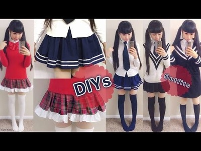 DIY Daily Anime Japanese School Uniforms for Beginners: DIY Navy Skirt+Plaid Skirt+School Outfits