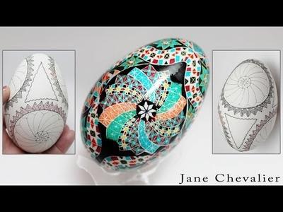 DIY Egg Art Tutorial - Draw Windmill (Windmills) Pencil Design - by Egg Artist Jane Chevalier