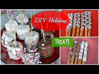 DIY Holiday Treats (chocolate covered pretzels & marshmallows + more)