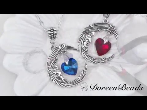 Doreenbeads Jewelry Making Tutorial - How to DIY Fantastic Crescent Moon Necklace Jewelry