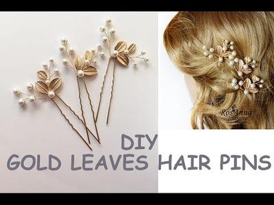 Easy DIY Bridal Gold Leaves Hair Vine Pins  Bridal Hair Tutorial Hair Vine, Wire beads