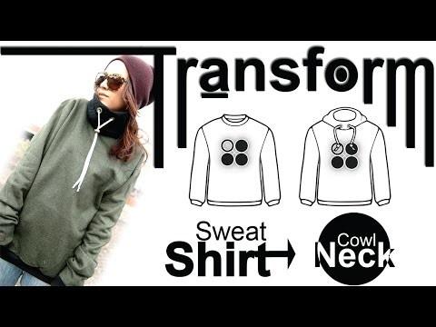 Easy DIY Transformation: Sweatshirt -Cowl Neck