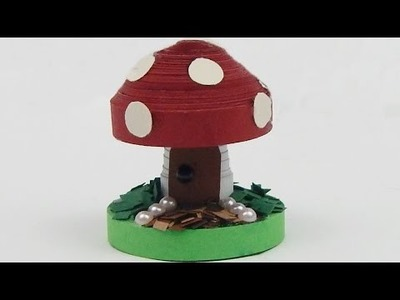 How to make a 3D quilling fairy tale mushroom DIY (tutorial + free pattern)