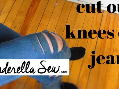 Cut rips in jeans - Make holes in the knees of jeans - DIY Distressed Denim