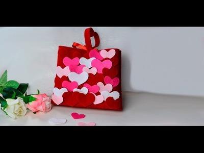 DIY Mother's Day Gift  Making Felt Heart Handbag at Home