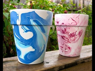 DIY Nail polish marbled flower pots | Easy tutorial for beginners in a few second