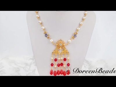Doreenbeads Jewelry Making Tutorial - How to DIY Brilliant Red Beaded Chandelier Style Necklace