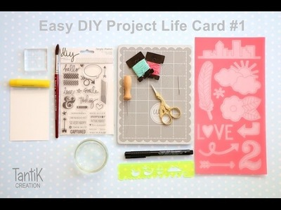 Easy DIY Project Life Card #1: Hand Stitching using Embroidery Stencil.