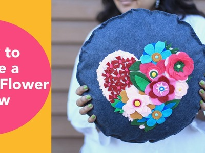 How to make a Felt Flower Pillow,  No Sew Cushion, DIY Felt Crafts