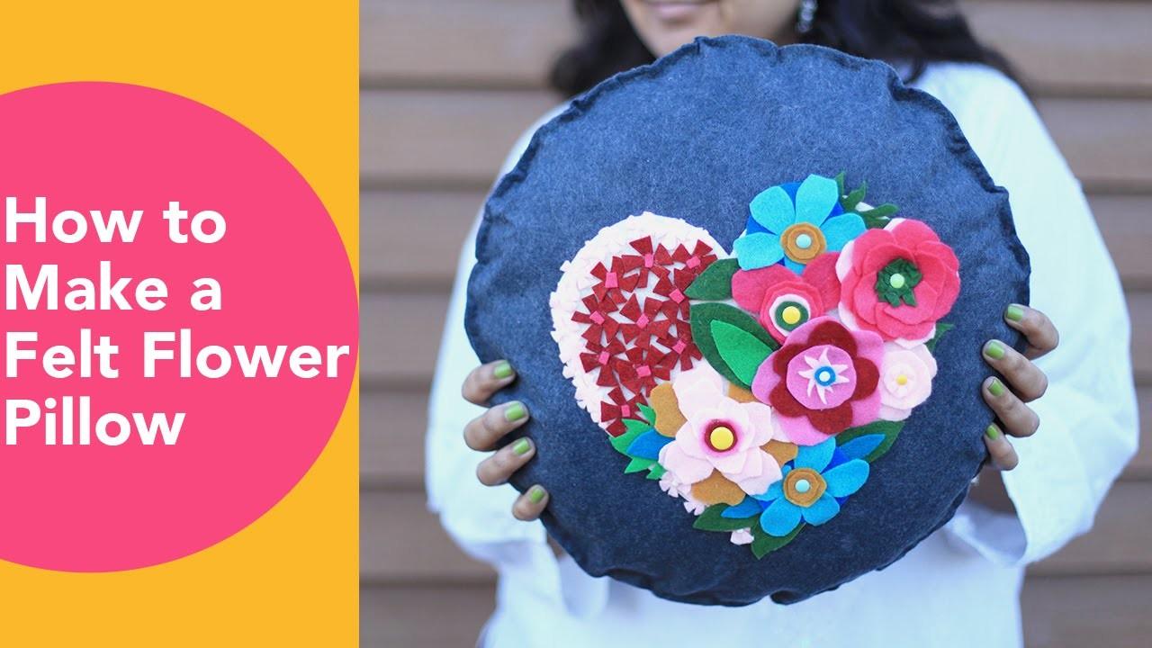 How to make a Felt Flower Pillow,  No Sew Cushion, DIY Felt Crafts