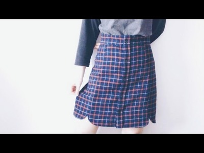 Sewing + Refashion DIY Men's Shirt to Button Front Scallop Hem Skirt