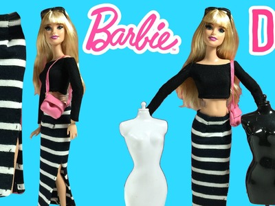 DIY - How to Make Barbie Doll Long Skirt - Barbie Clothes Tutorial - Making Kids Toys