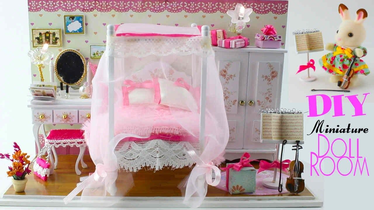 DarlingDolls ♥ DIY Wooden Dollhouse Miniature Kits w. LED Lights & Music Box.Doll Craft