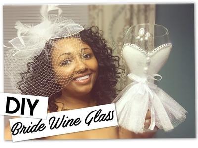 DIY Bride's Dress Wine Glass