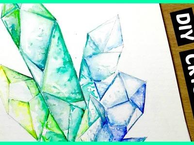 DIY: Crystal Cluster.Gemstone Watercolor Speed Painting (Pinterest Inspired)