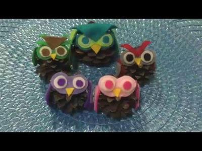 DIY Cute Felt and Pinecone Owls