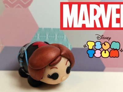 DIY Tsum Tsum Black Widow from Disney Marvel Universe - Polymer clay tutorial