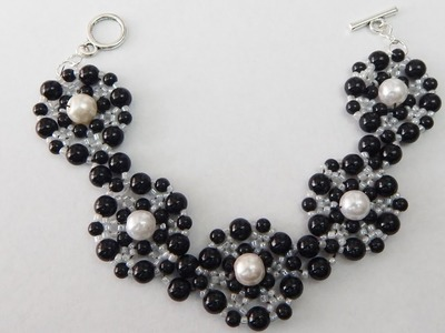 How to make a black and white beaded bracelet with pearls DIY (tutorial + free pattern)