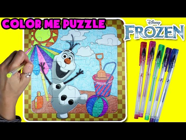 ★Disney Frozen Olaf Color Wonder Puzzle★ DIY Color Your Puzzle, Frozen Olaf Arts & Crafts Video