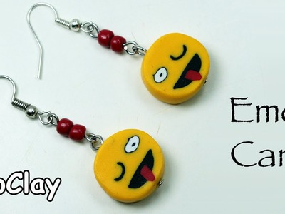 DIY Crafts: How To Make Emoji face cane - Polymer clay tutorial.