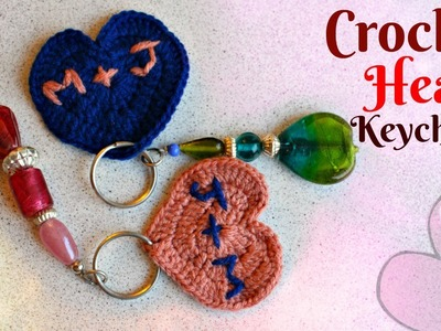 DIY Crochet Heart Key chains for your Boyfriend.Girlfriend