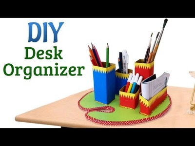 DIY Desk Organizer : How to Use Cardboard for Pencil Organizer | Recycled Craft Projects