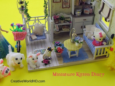 DIY Miniature Dollhouse Kitten and Friends.Room Decor with Light Box
