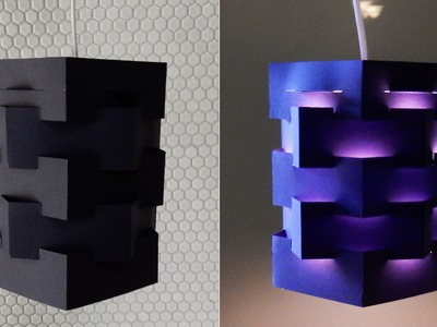 DIY pendant lamp (pentagon) - how to make a lampshade.lantern for hanging light - EzyCraft