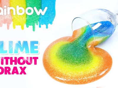 DIY Rainbow Glitter Slime! without Borax!