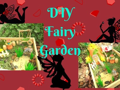 Easy DIY Fairy Garden with a moveable swing and waterfall pond
