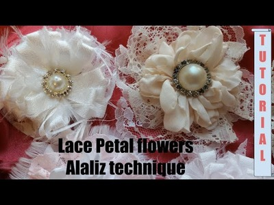 Lace Petal flower, no sew, Shabby Chic tutorial, Easy, DIY 8s2, by Crafty Devotion