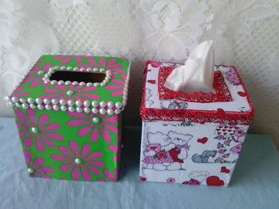Como decorar una caja de Tuallitas. how to decorate a tissue box.