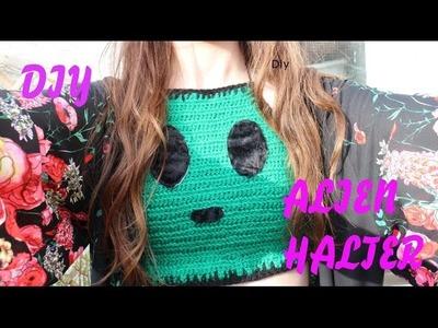 Diy Alien crochet halter top crop top | Fake it to make it #2