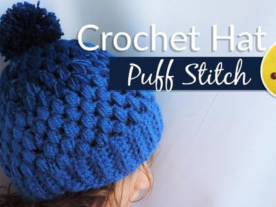 Gradient hat with puff stitch - Crochet. Gorrito en punto piña
