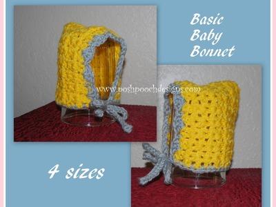 How to crochet a basic baby bonnet