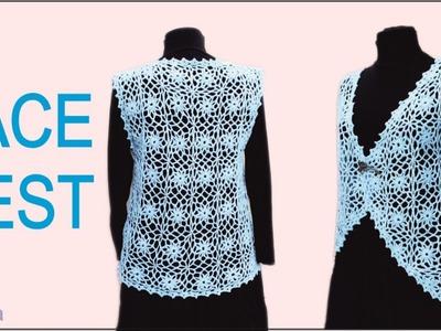 How to crochet  lace vest Blue  square motif lace vest part 2 by wwwika #lace_crochet