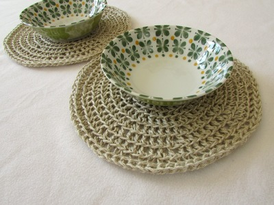 How to crochet rustic round placemats. coasters - any size