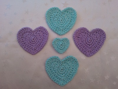 P5 How to crochet my peg bag hearts 3 sizes easy US and UK terms