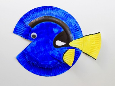 Easy Finding Dory craft: How to make a paper plate Dory