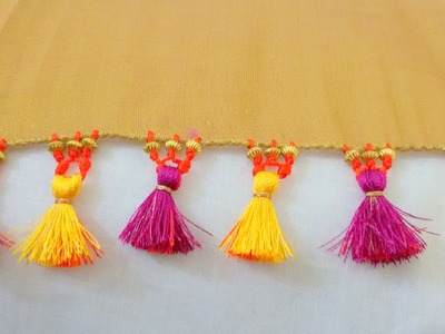 How to do Saree Kuchu with Beads - Design 1