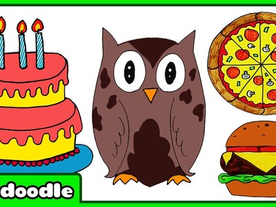How To Draw A Birthday Cake and More Super Simple Drawings For Kids by HooplaKidz Doodle