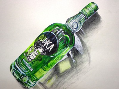 How to Draw a Vodka Battle by Watercolor 3D art drawing