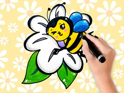 How to draw an easy cartoon bee with Daisy flower easy for kid step by step | Happy drawing