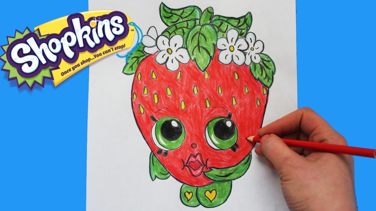 """How to Draw Shopkins Season 1 """"Strawberry Kiss"""" Step By Step Easy 