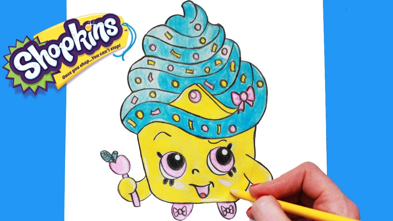 """How to Draw Shopkins Season 1 """"Cupcake Queen"""" Limited Edition Step By Step Easy 